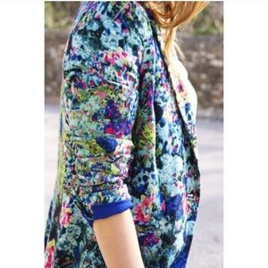 Zara Trafaluc Bright Floral Blazer Jacket Medium